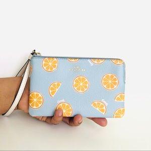 Coach Corner Zip Wristlet Purse Citrus Orange 🍊